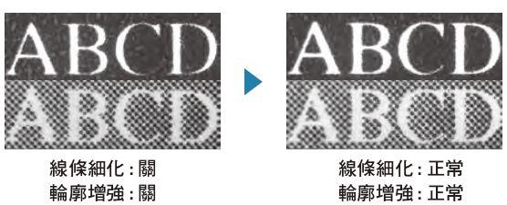 線條細化與文字輪廓增強處理